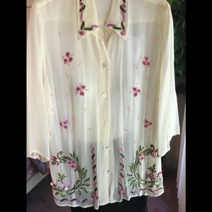Karen Kane Cream embroidered and beaded top